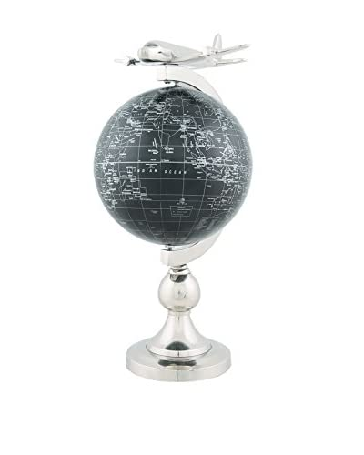 Old Modern Handicrafts, Inc. Bronze-Finished Globe with 1930's Plane Model, Black/Silver