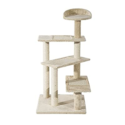 PawHut Cat Tree Kitten Scratch Scratching Scratcher Sisal Post Climbing Tower Activity Centre Beige