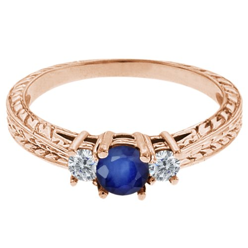 0.60 Ct Round Blue Sapphire G/H Diamond 18K Rose Gold 3-Stone Ring