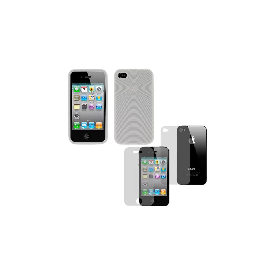 GTMax White Finger Print Silicone Skin Soft Cover Case + LCD Screen Protector for AT&T Apple iPhone 4