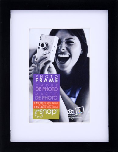 Snap Black 6-inch-by-8-inch Desk Frame Matted to 4-inch-by-6-inch (8x6 Picture Frame compare prices)