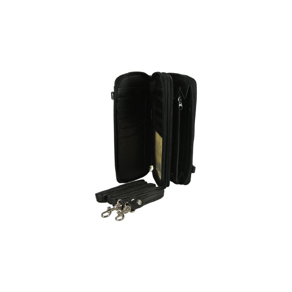 Lambskin Leather Black Clutch Wallet Organizer Double Zip with Crossbody Strap