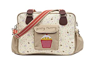 Yummy Mummy Stylish Nursery Changing Bag - Colour Bumble Bees And Stardust - Includes Travel Changing Mat Cupcake Design Luxury Baby Bag