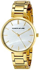 Kenneth Jay Lane Women's KJLane-1705 White Mother-Of-Pearl Dial Gold Ion-Plated Stainless Steel Watch