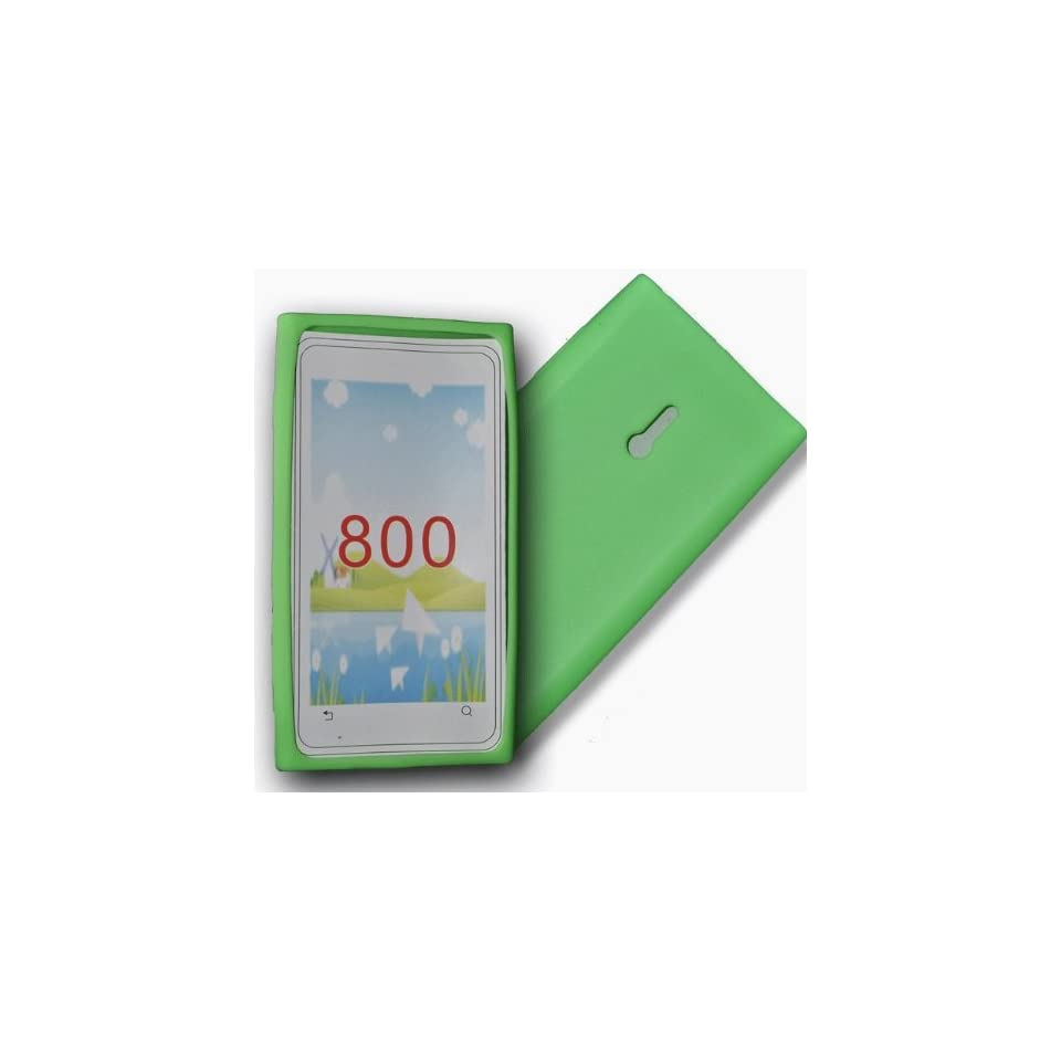 Green silicone case cover pouch for nokia lumia n800 Electronics
