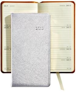 """2013 METALLIC SILVER 6"""" Pocket Datebook Diary in Fine Leather by Graphic Image – 3.120×6"""