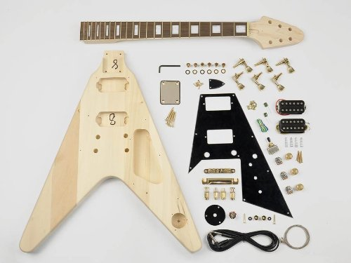 Flying-V Style Guitar Assembly Kit - Basswood Body - 22 Frets - Bolt On Neck (Kit-Fv-10)