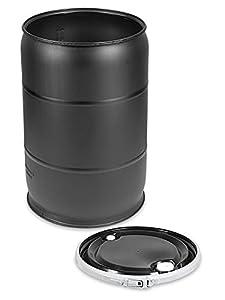 Plastic Drum with Lid - 55 Gallon, Open Top, Black