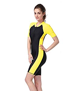 Women's Plus Size Short Sleeves Rashguard UPF 50+ One-piece Surf Swim Wet Suit (yellow, M: height:160-165cm)