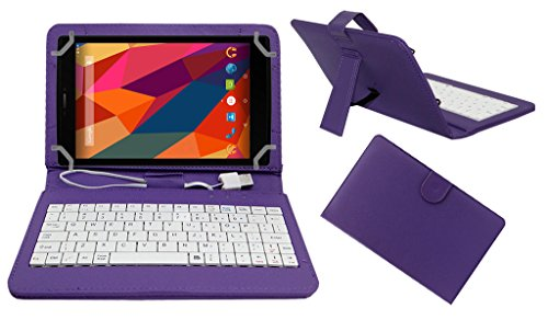 Acm Premium Usb Keyboard Tablet Case Holder Cover For Micromax Canvas Tab P680 With Free Micro Usb Otg - Purple