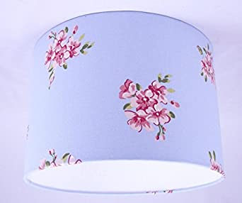 abat jour fait main n 36cm 36cm bleu floral shabby chic vintage design luminaires. Black Bedroom Furniture Sets. Home Design Ideas
