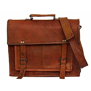 HandMadeCart  Genuine Men's Leather Messenger Laptop Briefcase Satchel Mens Bag