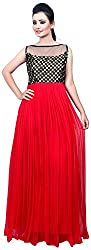 Shirasi Exclusive Indian Ethnic Pure Georgette Designer Gown Casual Wear Red And Black color For Girl