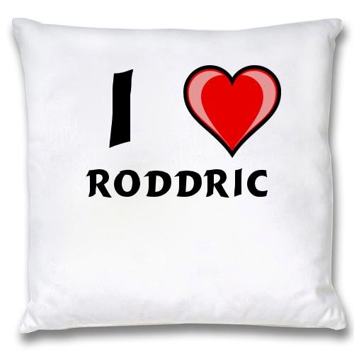 White Cushion Cover with I Love Roddric (first name/surname/nickname) white cushion cover with i love roddric first name surname nickname