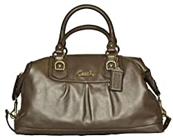 Authentic Coach Leather Ashley Large Satchel Handbag 15447 Steel