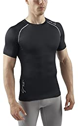 SUB Sports HEAT Stay Cool Mens Semi Compression Top - Short Sleeve Base Layer - Black - M