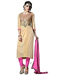 Shopping Point Off White Cotton Anarkali Unstitched Dress Material