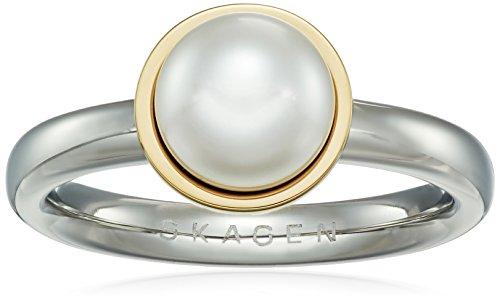 skagen-agnethe-silver-tone-pearl-ring-size-8