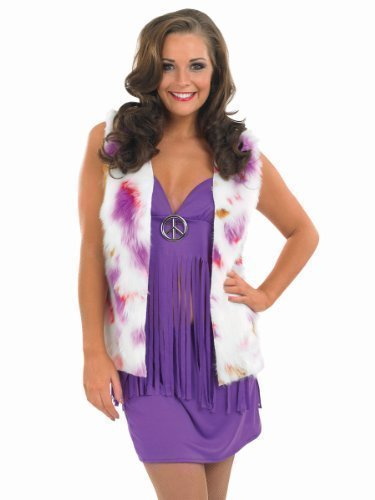 Ladis Sexy Hippy Costume with Waistcoat. Size 12 to 14
