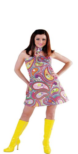 Horror-Shop Hippie Kleid XL Funky Colors