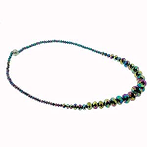 "AB Rainbow Rondell Bead Necklace - 20"" Necklace - 5-16mm - Magnetic Clasp"