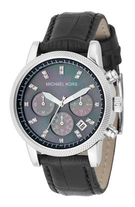 Michael Kors Chronograph Mother of Pearl Dial Black Leather Ladies Watch