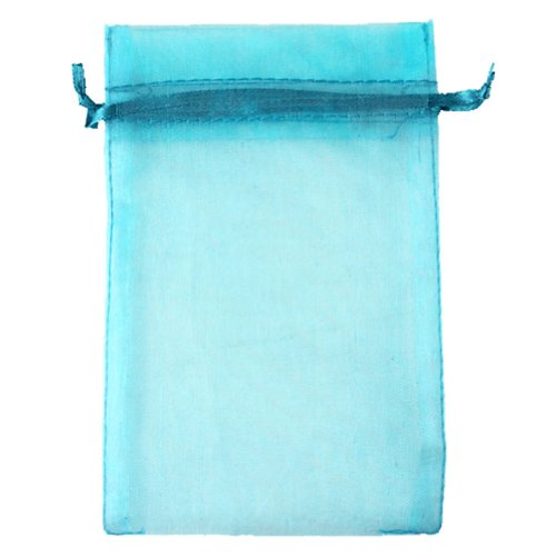 Aqua Blue 3.5×4.7″ 9x12cm Drawstring Organza Pouch Strong Wedding Favor Gift Candy Bag (Pack of 100pcs)
