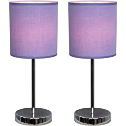 Simple Designs Chrome Mini Basic Table Lamp with Fabric Shade 2-Pack Set (Purple)