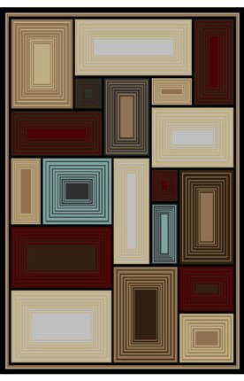 "World Rug Gallery 3025 Iron Bridge Geometric Multi Contemporary Rug Size: 7'10"" x 10'2"""
