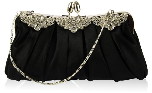 Ladies Black Diamante Soft Satin Evening Bag KCMODE