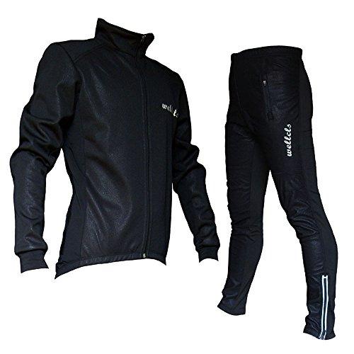 Wellcls 冬用サイクルジャケット 上下セット 防風 ウインドブレーク 自転車 サイクリング (黒, L)