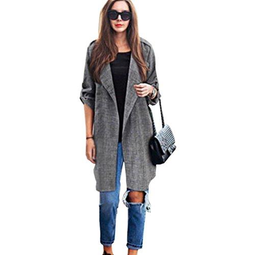 giacche per le donne, FEITONG trench lungo mantello cappotto cardigan (L, Grigio)