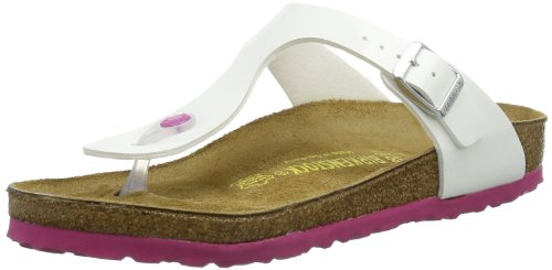 Birkenstock Womens Gizeh Bflor Thong Sandals 345081 White Patent Sole Pink 9 UK, 42 EU, Regular