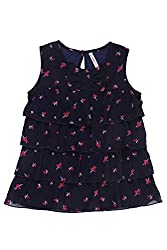 Chalk by Pantaloons Girl's Boat Neck Blouse (205000005606681, Blue, 6-7 Years)