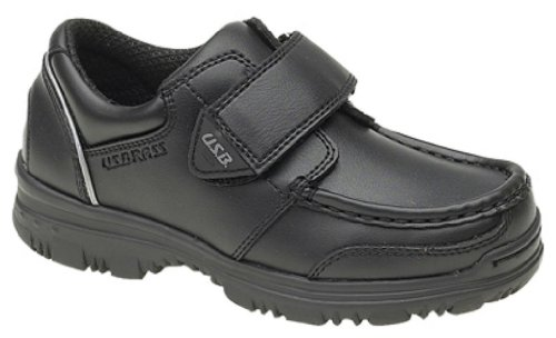 Boys US Brass 'MARK' Touch Fastening Boat Shoes Black