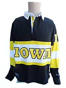 NCAA Iowa Hawkeyes Mens Panel Rugby Shirt, Black Yellow by Donegal Bay
