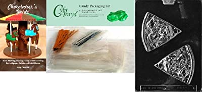Cybrtrayd 'Pizza Slice Kids' Chocolate Candy Mold with Chocolatier's Bundle of 50 Cello Bags, 25 Gold and 25 Silver Twist Ties and Chocolate Molding Instructions