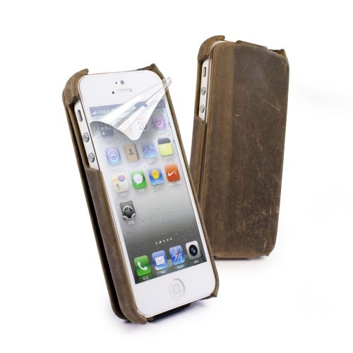 Special Sale Tuff-Luv Western Leather Collection Tuff-Grip case cover for iPhone 5 / 5s (free screen protector) - Brown