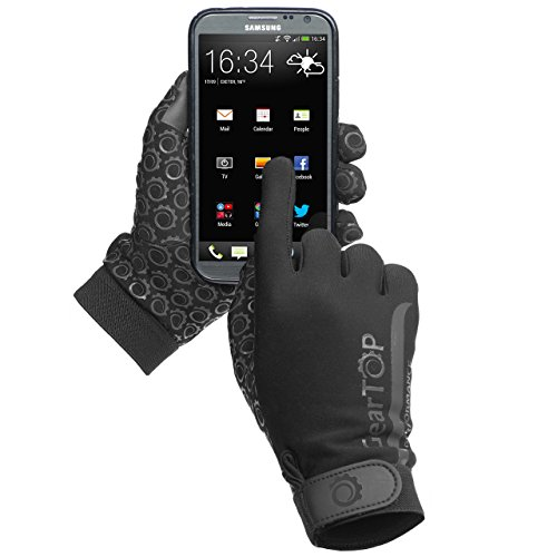 GearTOP Touch Screen Thermal Gloves - Great for Running, Rugby, Football, Hunting, Walking for Women and Men (Black, L) (Ice Rescue Gear compare prices)