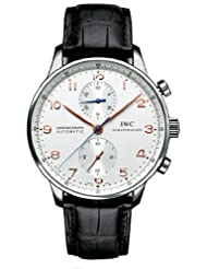 Best Price IWC Portuguese Chrono Automatic Steel Black Mens Watch IW371401