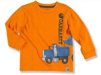Carhartt Little Boys' Dump Truck Long Sleeve T-shirt, Orange, 3T