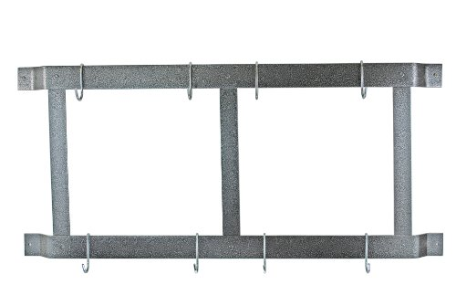 Rogar Ultimate Wall Mounted Pot Rack Vertical/Horizontal in Hammered Steel
