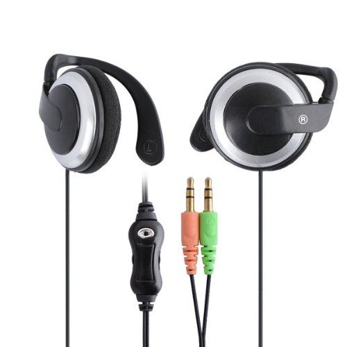 Daditong 3.5mm Audio Jack Stereo Clip-on-Kopfhörer Kopfhörer Kopfhörer mit Mikrofon Mic Volume Control für Skype MSN Online-Chat