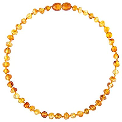 Amber Teething Necklace - IN GIFT BOX - Certified Authentic Baltic Amber - FREE How To Booklet - Amber Beads Work By Releasing Naturally Occurring Succinic Acid As an Anti-inflammatory - Also Helps Reduce Drooling - Satisfied Customer Guarantee (Honey) by