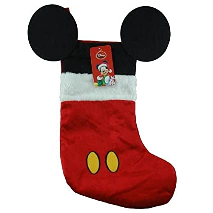 "Disney Mouse Ears 18"" Velour Christmas Stocking with Plush Cuff (Mickey Mouse - Red)"