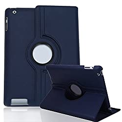 HDE Rotating iPad Case Magnetic Folding Leather Cover Folio Flip Stand for Apple iPad 2 iPad 3 iPad 4 (Navy Blue)