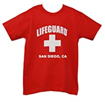 Lifeguard Kids San Diego California T-shirt Official Life Guard Tee Red XS (2-4)
