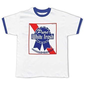 com: Old Glory - Mens Pure White Trash T-shirt - Small White: Clothing