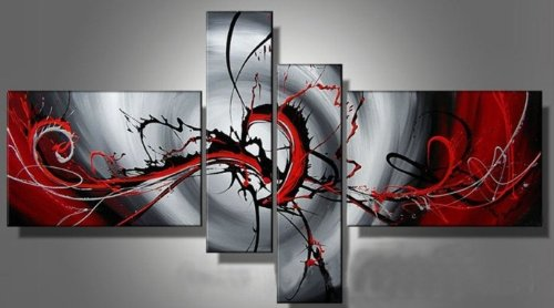 Hand-painted Passion Color High Q. Home Decoration Modern Abstract Best-selling Oil Painting on Canvas 4pcs/set Framed on the Back
