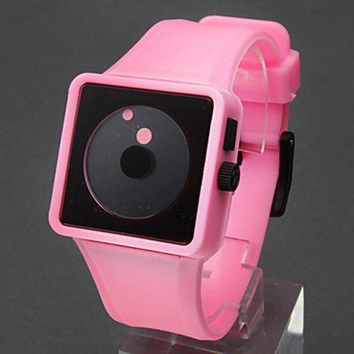 Funcky Style Analog Quartz Pink Silicone Band Unisex Watchs